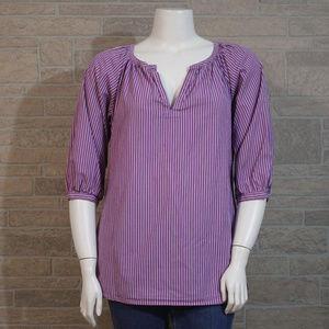 American Living XL Purple White Smock Style Shirt